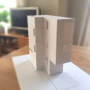 シンプルおしゃれ 狭小建築模型